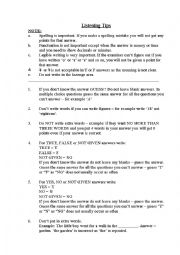 English Worksheet: IELTS Listening and Reading Test Tips