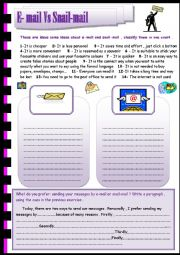 English Worksheet: e-mail Vs snail-mail