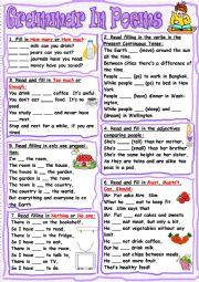 English Worksheet: Grammar In Poems