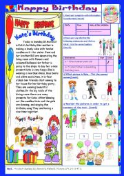 English Worksheet: Happy Birthday: (End Term2 Test 7th form)3parts: Reading+Language+Writing+Key.