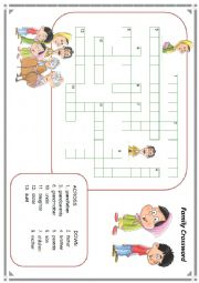 English Worksheet: family member crossword