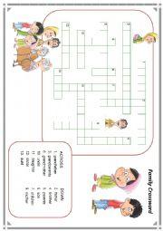 English Worksheet: family member crossword