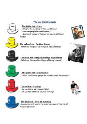 English Worksheet: six hats fame