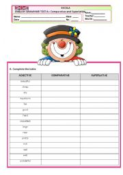 English Worksheet: GRAMMAR TEST A - COMPARATIVE  AND SUPERLATIVE