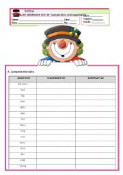 English Worksheet: GRAMMAR TEST B - COMPARATIVE AND SUPERLATIVE