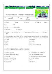 English Worksheet: New Headway Beginner Episode 1