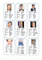 English worksheet: Celebrities ID cards.