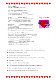 English Worksheet: Elton John�s Your Song