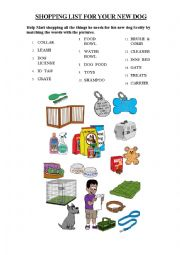 English Worksheet: Dogs Shopping List