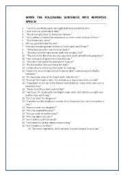 English Worksheet: REPORTED SPEECH: statements, questions and commands