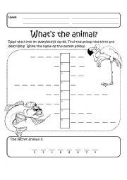 English Worksheet: Cooperative Learning - Animals