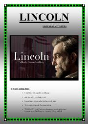 LINCOLN Spielberg´s movie (LISTENING ACTIVITIES) (7 pages, keys included)