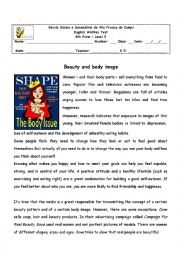 Beauty and body image - 9th form test, Version B