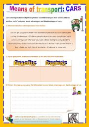 English Worksheet: cars: benefits and drawbacks