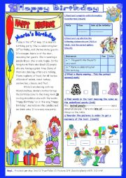 English Worksheet: Happy Birthday(End of Term 2 Test 7th form):2parts: Reading Comprehension+Language+Key.