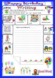 English Worksheet: A birthday Party: Writing: (End Term 2 Test7th form)