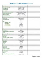 English Worksheet: Make up and Cosmetics