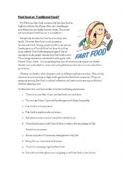 English Worksheet: Fast food or traditional food?