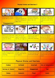 English Worksheet:    Physical States and Emotions Part 2 of 4