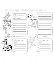 English Worksheet: describe the animals and body parts