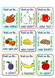 English Worksheet: Would you like a/some ...? + food (2/2)