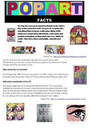 Pop Art - Facts and Worksheet