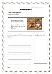 English Worksheet: Describe your favorite animal
