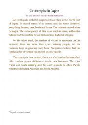 English Worksheet: Catastrophe in Japan
