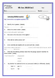 English Worksheet: Mid - term test 2 Second form secondary