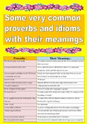 Very common proverbs and sayings with their meanings! So practical as warm-up speaking activity (and oral discussions)