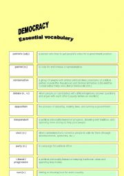 DEMOCRACY AND ELECTION: VOCABULARY IN PRACTICE