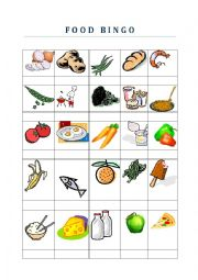 English Worksheet: Food Bingo