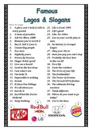 English Worksheet: Famous logos and slogans