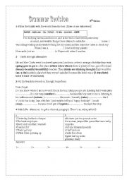 English Worksheet: GRAMMAR REVISION 8th forms Modules 3 and 4
