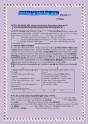 English Worksheet: GRAMMAR and VOCABULARY REVISION MODULEN�1  9th form