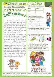 School Life(End of Term3 Test 7th form)2parts: Reading Comprehension+Language+Key.