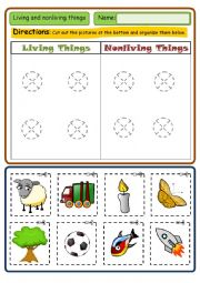 English Worksheet: LIVING AND NON LIVING