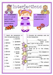 English Worksheet: Interjections