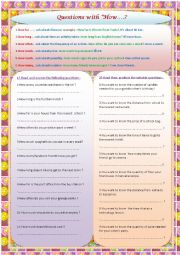English Worksheet: qustions with how:how far/how much/how many/how often/how long/