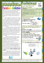 English Worksheet: Facebook and other services(End Term2 Test9th form) 3¨Parts: Reading Comprehension+Language+Writing+Key
