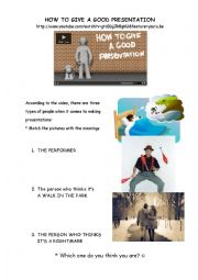 English Worksheet: HOW TO GIVE A GOOD PRESENTATION