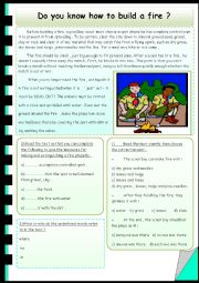 English Worksheet: Do you know how to build a fire ?