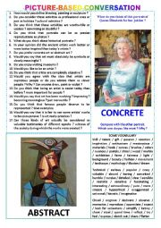 English worksheet: Picture-based conversation : topic 1 - concrete art vs abstract art