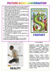 English worksheet: Picture-based conversation : topic 3 - fantasy vs reality (in the cinema)
