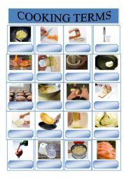English Worksheet: Cooking terms