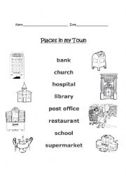 english worksheets places in my town. Black Bedroom Furniture Sets. Home Design Ideas