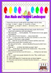 English Worksheet: Man-made and natural disasters