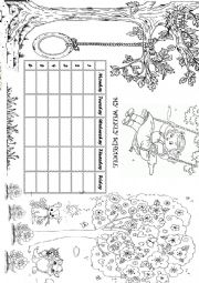 English Worksheet: My weekly schedule for girls