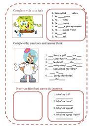 third person singular be (positive, neg and interrogative) with Sponge Bob
