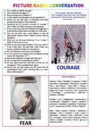 English worksheet: Picture-based conversation : topic 5 - courage vs fear